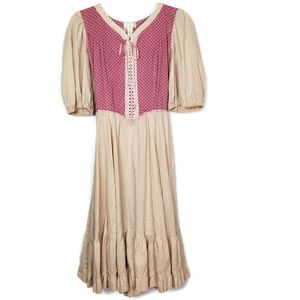 Vintage pink and cream calico cotton Prairie Dress